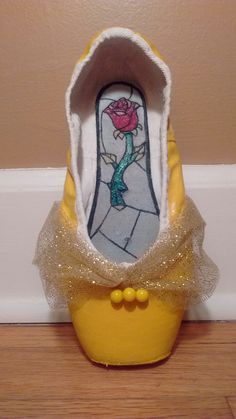 Beauty and the Beast pointe shoes by @oopsiedaisyupcycle on Instagram