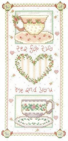 Cross-syitch tea for two.. no color chart, just use pattern chart colors as your guide.. or choose your own colors.