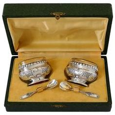 Bezon French Sterling Silver 18K Gold Salt Cellars Pair, Spoons, Box, Regence