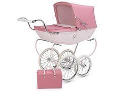 The hand made Chatsworth Dolls Pram is a beautiful gift for any little girl and her dolls. It comes in a high gloss finish with beautiful hand-painted fine line detail, chrome spoked wheels and fully adjustable hood. It also features a wonderful ceramic plaque on either side, which bears a... see more details at https://bestselleroutlets.com/baby/strollers-accessories/product-review-for-silver-cross-chatsworth-doll-pram-rose/
