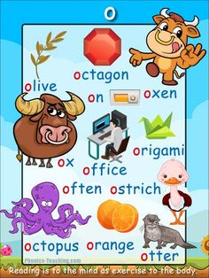 o words - o sound Phonics Poster - FREE & PRINTABLE - Perfect for phonics practice, auditory discrimination, spelling, Word Walls & Home Reading Practice. Phonics Reading, Teaching Phonics, Phonics Lessons, Phonics Activities, Kindergarten Worksheets, Teaching Tips, Initial Sounds, Letter Sounds, English Phonics