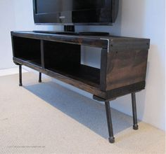 Console reclaimed wood tv stand entertainment center industrial tv stand re Reclaimed Wood Media Console, Tv Console Modern, Console Tv, Wooden Console, Industrial Tv Stand, Industrial Pipe, Tv Stand And Entertainment Center, Entertainment Table, Pipe Furniture