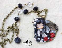 collana con geisha =) / collana fimo / zingara creativa / fimo / giappone di ZingaraCreativa su Etsy