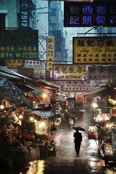Market in the rain, Hong Kong
