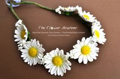 Polymer clay life like flowers tutorial - Daisy crown project