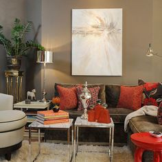 Living Room Red Brown Design, Pictures, Remodel, Decor and Ideas - page 2