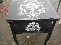 damask stenciling sewing cabinet (7)