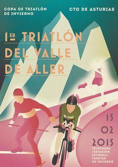 Winter Triathlon Poster Art/ 2014 on Behance  #marketingsportowy #marketingwsporcie #muvmentmarketing #triathlon