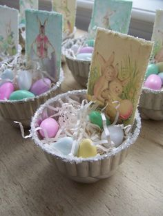 This listing is for two adorable Easter baskets made from vintage jello molds.
