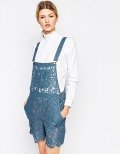 Ganni+Gothic+Lace+Dungaree+in+Blue