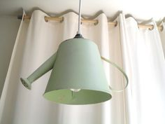Vintage Green Watering Can Pendant Light Fixture. $22.00, via Etsy. -- would be a cute thing to diy for a mudroom