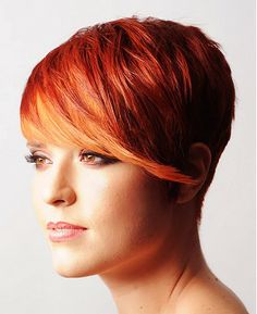A short red straight coloured multi-tonal copper hairstyle by Pierre Alexandre