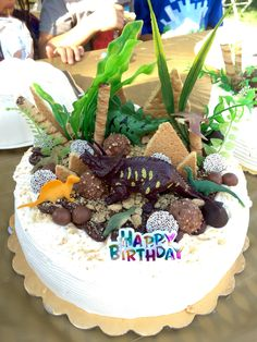 DIY dinosaur cake decorations using dollar store finds: variety of chocolates, plastic plants, and dinosaurs! Also used chocolate frosting as soil and crushed graham crackers as dirt!