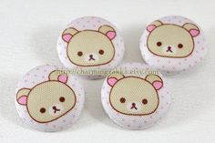 Fabric Covered Buttons (L) - Cute Rilakkuma's Bear, Pink (4Pcs, 1.1 Inch). $5.00, via Etsy.