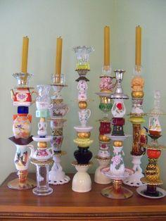 Trinket candle sticks from vintage finds.