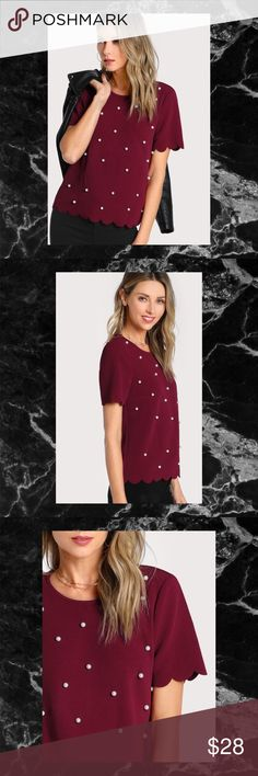 """BURGUNDY SCALLOP PEARL EMBELLISHED TEXTURED TOP This lovely top is rich and sophisticated. The pearl embellishment adds an elegant feel. Can be worn with jeans and heels for the mall or a skirt for the office.   Size: Small  Shoulder: 15.0"""" Bust: 36.6"""" Waist Size: 37.0"""" Length: 22.8"""" Sleeve Length: 8.3"""" Bicep Length: 13.0""""  Size: Medium  Shoulder: 15.4"""" Bust: 38.2"""" Waist Size: 38.6"""" Length: 23.2"""" Sleeve Length: 8.7"""" Bicep Length: 13.4""""  Color: Burgundy Material: 95% Polyester, 5% Spandex…"""