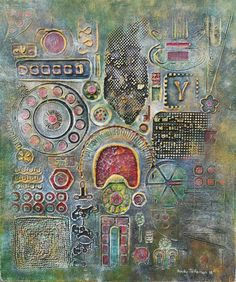 Portal to Beyond - British Jamaican artist Andy Jefferson; title Portal to Beyond; mixed media on board 48x40.5 cm; price CHF 826 | Experience Jamaique
