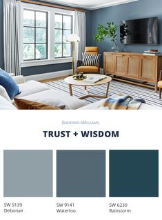 Blue soothes the soul and becomes breezy when mixed with white. Darker blue paint tones are perceive&; Blue soothes the soul and becomes breezy when mixed with white. Darker blue paint tones are perceive&; Popular Paint Colors, Paint Colors For Home, House Colors, Best Blue Paint Colors, Home Living Room, Living Room Designs, Blue Living Room Paint, Blue Paint For Bedroom, Blue Painted Rooms