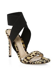 0ff12557a859 Gianvito Rossi Calf Hair Crisscross Ankle-Strap Sandals Nude Heeled Sandals