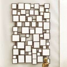 Two's Company - Tozai Home Accessories: Architecturally designed, this fabulous wall mirror is crafted of individual square iron sections to form a unique design. Mirrored Console Table, Wall, Print Making, Wall Decor, Mirror Wall, Modern Store, Eclectic Home, Mirror, Shell Mirror