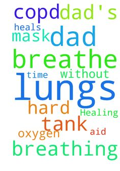 Healing my dad's lungs -  My dad is having a hard time breathing. My prayer request is that the Lord heals his lungs of COPD so that he can breathe without the aid of his oxygen tank and mask.  Posted at: https://prayerrequest.com/t/3aQ #pray #prayer #request #prayerrequest
