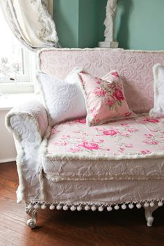 shabby chic couch sofa cottage white pink antique vintage prairie chenille bedspread roses. $1,450.00, via Etsy.