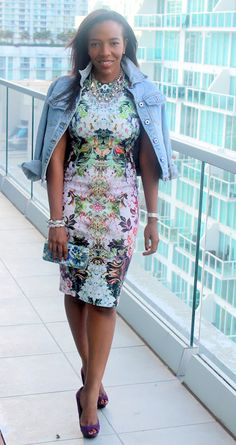 I am straying away from florals but loving this the cut of this dress. Somehow this works - even the mixing of the prints w/o the jean jacket.