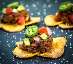 Plantain Nachos from The Clothes Make the Girl - I didn't follow the recipe for the meat.  I used ground turkey and my own spice mixture and no tomato paste.  The plantain chips were good but they do get really hard.  Yummy!