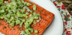 Grilled Salmon with Cucumber and Sweet Onion Salsa - yum! @Alyssa | Everyday Maven