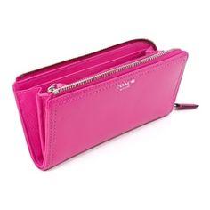 Coach Legacy Leather Slim Zip Fuchsia Clutch Wallet - OneLittleBox.com