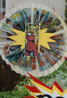 Simply Suzanne's AT HOME: Using comic pages for the Spider-Man decorations is a great idea! They are really unique!