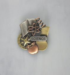 Science Collage Brooch by PINSwithPERSONALITY on Etsy, $22.00