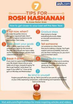 7 Tips for Rosh Hashanah - - How to get closer to your best self this New Year. Yom Kippur, Yom Teruah, Rosh Hashanah Traditions, Rosh Hashanah Menu, Happy Rosh Hashanah, Comida Judaica, Jewish High Holidays, Jewish Beliefs, Cultura Judaica