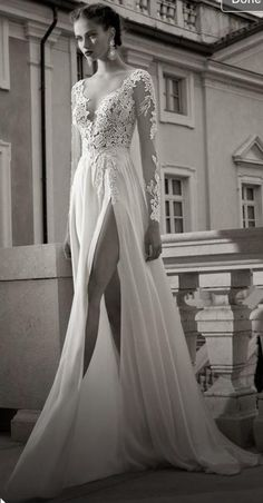 Aliexpress.com : buy new design sexy v neck appliques backless floor length full sleeve slit chiffon a line beach wedding dresses 2015 free shipping from reliable dresses for attending wedding suppliers on rose wedding dress co., ltd