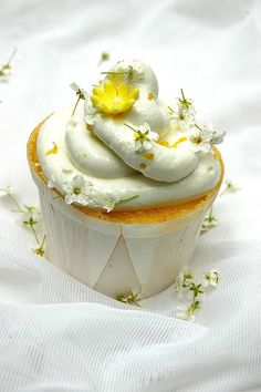 Limoncello Cupcakes Pizza with Asparagus, Bacon and Goat's Cheese Cherry Ricotta Tart Köstliche Desserts, Delicious Desserts, Yummy Food, Fun Cupcakes, Cupcake Cakes, Wedding Cupcakes, Summer Cupcakes, Yellow Cupcakes, Lemon Cupcakes