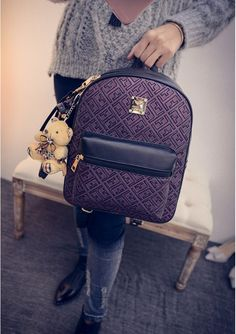BA01549 Fashion backpack travel bag personality Korean style backpack