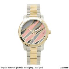 elegant abstract gold foil black grey coral pink watches