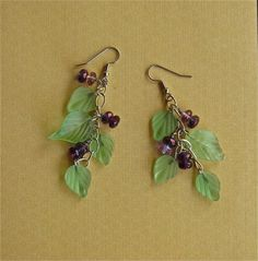 Handmade earring dangles of crystal and glass by mehtahdesigns