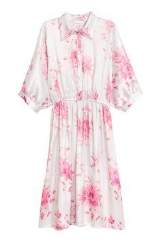 Gemustertes Blusenkleid   Weiß/Rosa gemustert   DAMEN   H&M DE