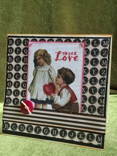 Valentimes card greeting card handmade with by buttonsandbottles