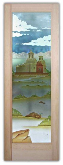 California Xavier Mission etched, carved and painted on glass door by Sans Soucie Art Glass.  Beautiful!