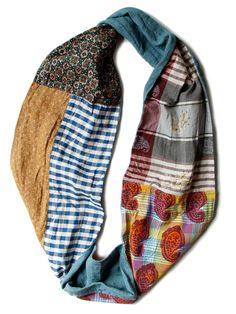 patchwork loop scarf..great way to use fabric scraps or recycle clothes!