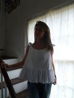 N38.51:) SHIFT. top.skirted. white. shorter length. double layered linen bib. upcycled white skirt. HALL-HARRIS designed & handmade.