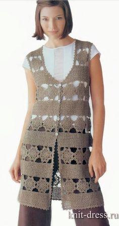 Colorful needles Croche and Trico: Crochet Jacket - Diagrams at site Crochet Skirts, Crochet Clothes, Knit Crochet, Irish Crochet, Crochet Sweaters, Crochet Cardigan Pattern, Crochet Jacket, Lace Vest, Long Vests