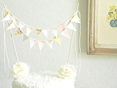 Rose Gold Champagne Lace and Burlap Fabric Bunting Cake Topper Decoration / Romantic Vintage Garden Wedding on Etsy, $16.00
