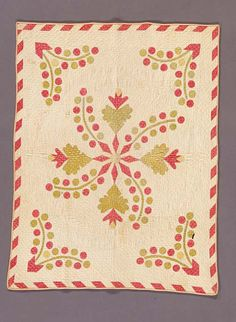 """Currants and Cockscomb,"" child's quilt, c. 1850-1860, pieced, quilted and appliqued, cotton, 30.5 x 40 inches, gift of the Betty Horton Collection."
