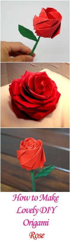 How to Make Lovely DIY Origami Rose More - Leanne Hildenbrandt - Origami Rose, Origami Diy, Origami And Kirigami, Paper Crafts Origami, Oragami, Diy Paper, Origami Bouquet, Flower Crafts, Diy Flowers