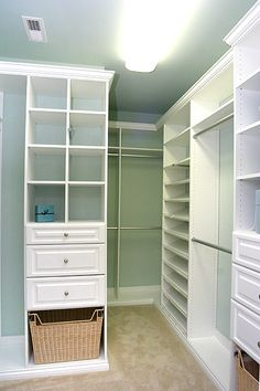 Walk in closet. Simple, good cubbies for folded items, double hanging, couple drawers each. Think I want a dark finish though.