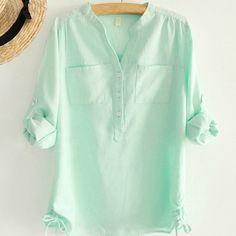 Branco plissado escritório senhoras blusa camisas manga comprida camisa de linho partes superiores das mulheres da moda outono 2015 de algodão mulher roupas plus size