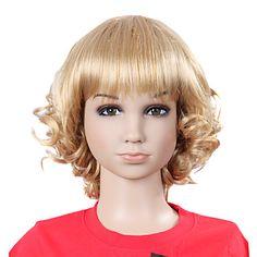 førsteklasses syntetiske nydelig mote bølgete blonde barnas parykk – NOK kr. 189